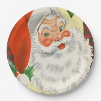 Vintage Santa Christmas Paper Plate