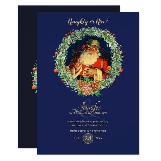 Vintage Santa Christmas Party Invitation Blue Red