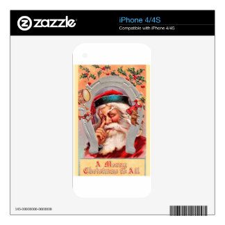 vintage-santa-christmas-post-cards-0017 decals for iPhone 4