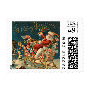 Vintage Santa Christmas Postage Stamps at Zazzle