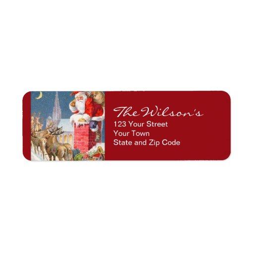 Vintage Santa Christmas Return Address Labels | Zazzle
