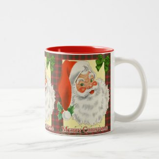 Vintage Santa Christmas Two-Tone Coffee Mug