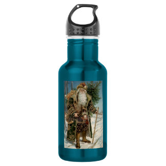 Vintage Santa Claus 3 18oz Water Bottle
