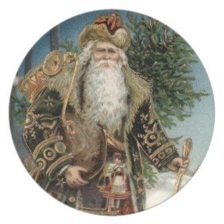 Vintage Santa Claus 3 Dinner Plate