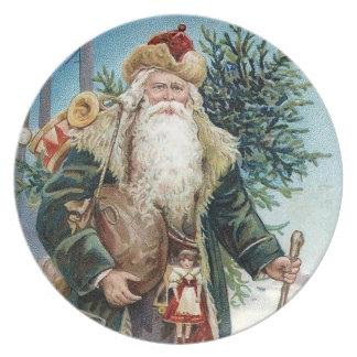 Vintage Santa Claus 6 Melamine Plate
