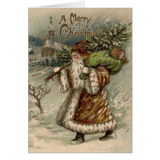 Vintage Santa Claus and Christmas Tree Card