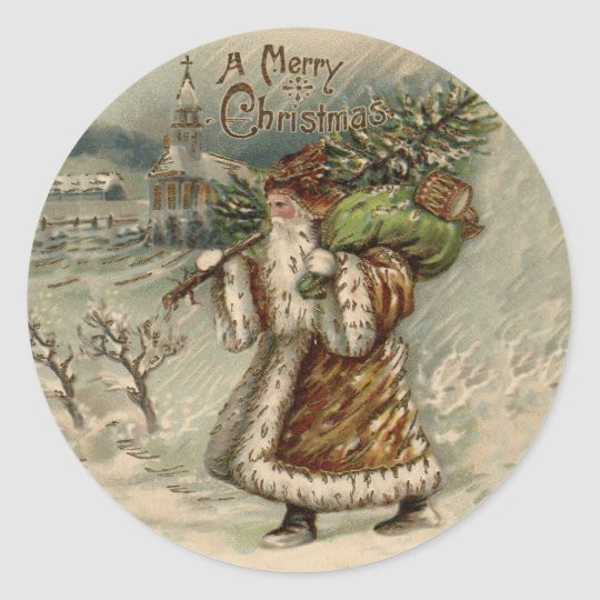Vintage Santa Claus and Christmas Tree Classic Round Sticker
