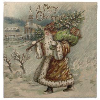 Vintage Santa Claus and Christmas Tree Cloth Napkin