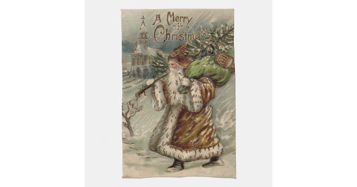 Vintage Santa Claus And Christmas Tree Hand Towel