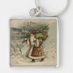Vintage Santa Claus and Christmas Tree Keychains