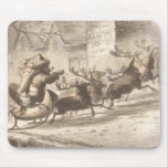 Vintage Santa Claus and Reindeer Illustration Mouse Pads