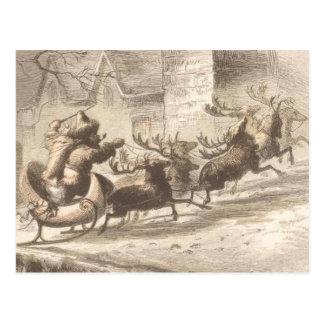 Vintage Santa Claus and Reindeer Illustration Postcard