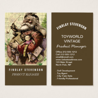 Vintage Santa Claus Art Print Custom Template Business Card
