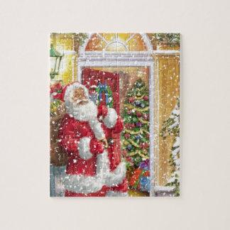 Vintage Santa Claus at porche Jigsaw Puzzle