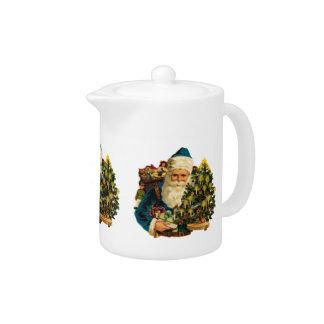 Vintage Santa Claus Bearing Gifts For Everyone Teapot