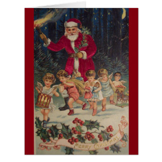 Vintage Santa Claus & Child Angels Christmas Card