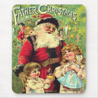 Vintage Santa Claus & Children Christmas Mousepad