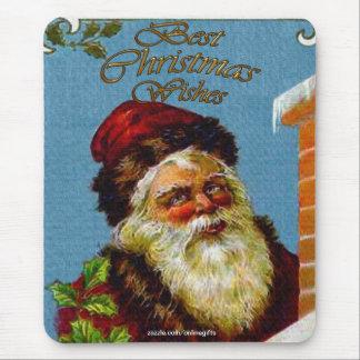 Vintage Santa Claus & Chimney Xmas Mousepad