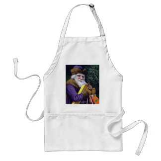 Vintage Santa Claus Christmas Apron - Purple