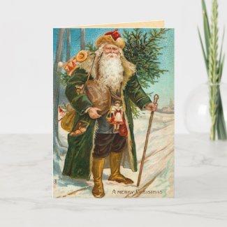 Vintage Santa Claus Christmas Card card