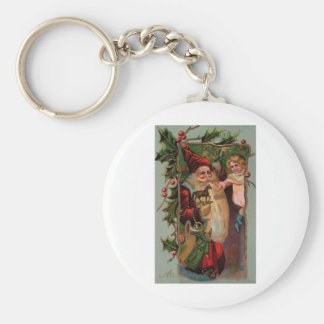 Vintage Santa Claus Christmas Card Keychain