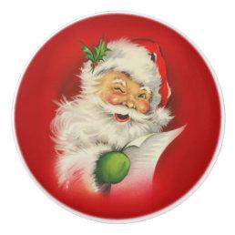 Vintage Santa Claus Christmas Ceramic Knob