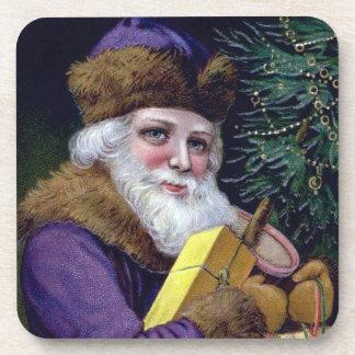 Vintage Santa Claus Christmas Coaster Set