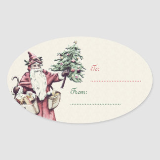 Vintage Santa Claus Christmas Gift Tag stickers