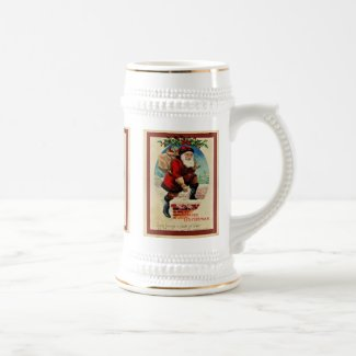 Vintage Santa Claus Christmas Holiday Beer Stein