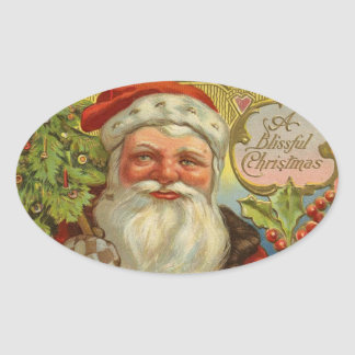 Vintage Santa Claus Christmas Oval Stickers