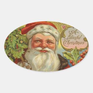 Vintage Santa Claus Christmas Oval Stickers