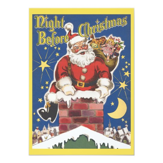 Vintage Santa Claus, Christmas Party Invitation