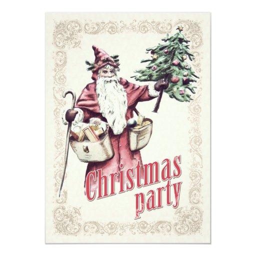 Retro Christmas Party Invitations: Vintage Santa Claus Christmas Party Invitation