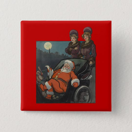 Vintage Santa Claus Christmas Pinback Button