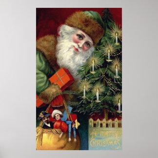 Vintage Santa Claus Christmas Poster Print