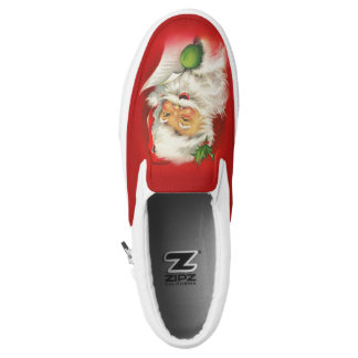 Vintage Santa Claus Christmas Slip-On Sneakers