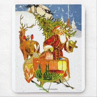 Vintage Santa Claus & Christmas Snow Mousepad