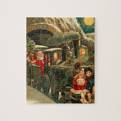 Vintage Santa Claus Christmas Train Jigsaw Puzzle