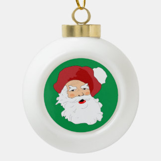 Vintage Santa Claus Christmas Tree Decoration Ceramic Ball Christmas Ornament