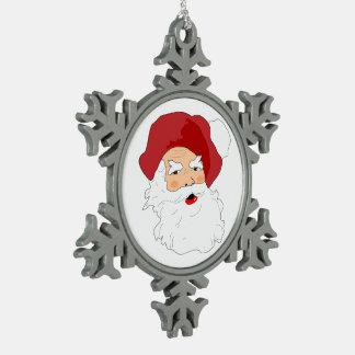 Vintage Santa Claus Christmas Tree Decoration Snowflake Pewter Christmas Ornament