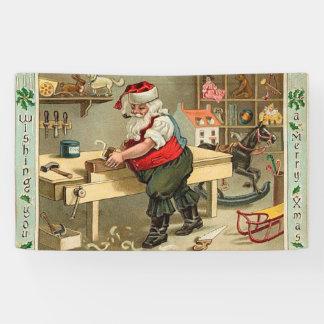 Vintage Santa Claus Christmas Workshop Banner