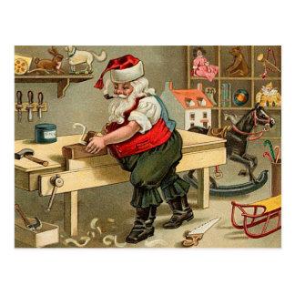 Vintage Santa Claus Christmas Workshop Postcard