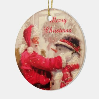 Vintage Santa Claus Circle Ornament with Greeting
