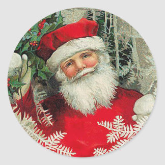 Vintage Santa Claus Classic Round Sticker
