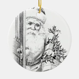Vintage Santa Claus Comes Through The Door! Ceramic Ornament