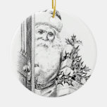Vintage Santa Claus Comes Through The Door! Christmas Tree Ornaments