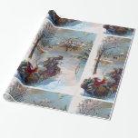 Vintage Santa Claus Dashing Through The Snow Gift Wrap Paper