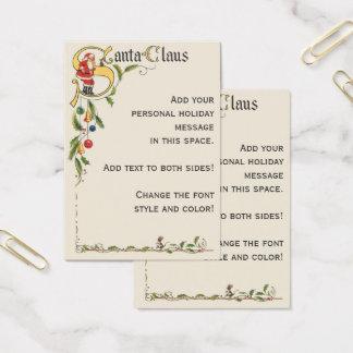 Vintage Santa Claus, Decorative Christmas Border Business Card
