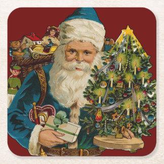 Vintage Santa Claus Delivering Gifts Square Paper Coaster