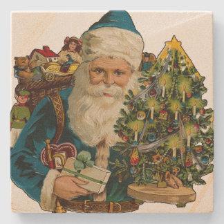 Vintage Santa Claus Delivering Gifts Stone Beverage Coaster